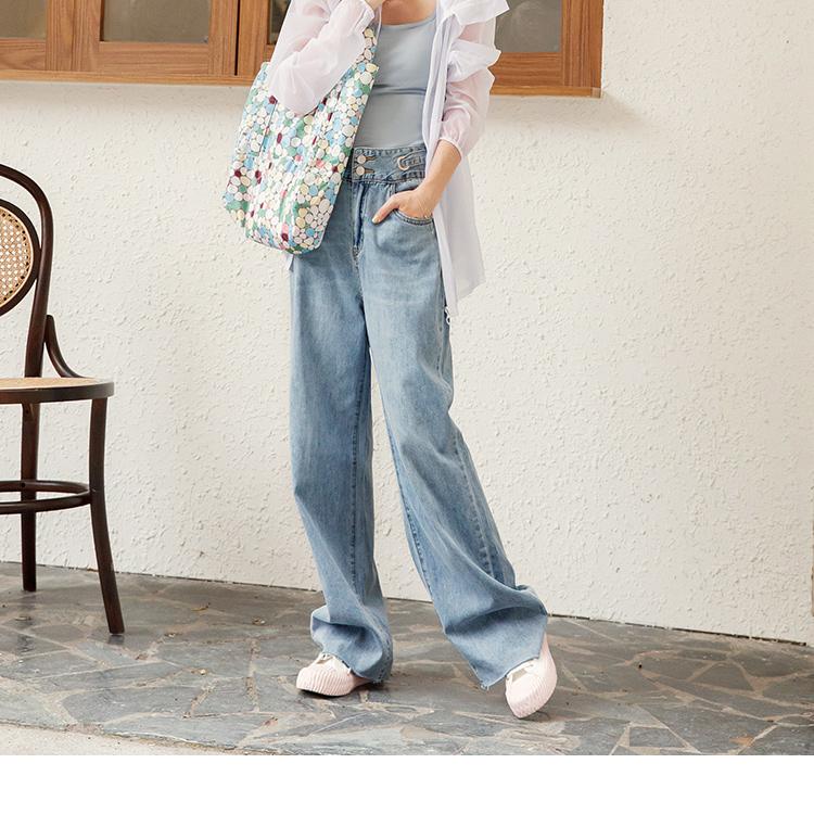 風格人物粉紅人妻CPU.造型腰頭牛仔寬褲