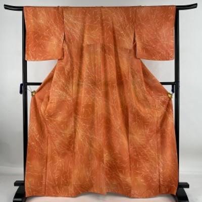 小紋 美品 優品 葉柄 ぼかし オレンジ 袷 身丈166cm 裄丈66.5cm M 正絹 中古