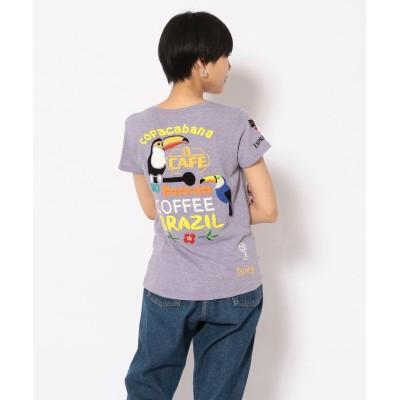 (RAWLIFE/ロウライフ)【RAWLIFE限定】birdog/バードッグ/hand embroidery t-shirts -COFFEE-/手刺繍Tシャツ -COFFEE-/レディース LAVENDER