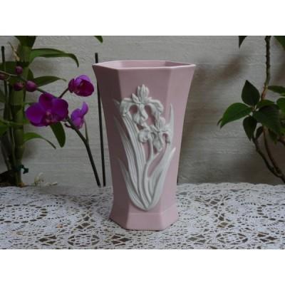 15.5cm H六角形花瓶・アイリス・ピンク・