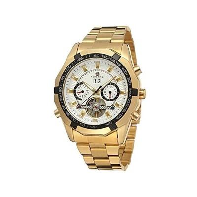 特別価格Forsining Men's Automatic Mechanical Transparent Crystal Tourbillon Wrist W並行輸入品