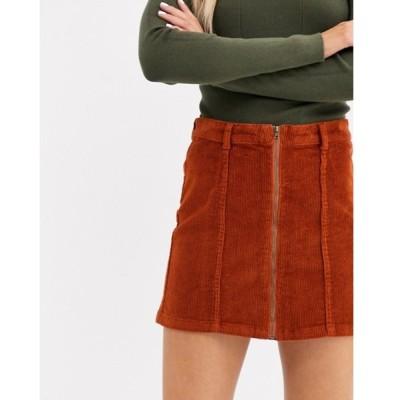 オンリー レディース スカート ボトムス Only Nyla corduroy zip front a line skirt