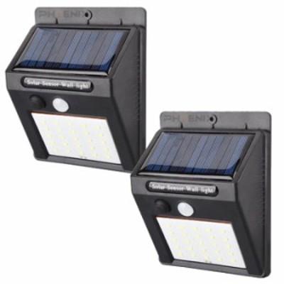 LED センサーライト 2個セット 屋外 人感 明暗 ソーラーライト 常夜灯 25灯 配線 電池 不要 自動点灯 防水 防犯 省エネ 庭 玄関 塀 壁 照