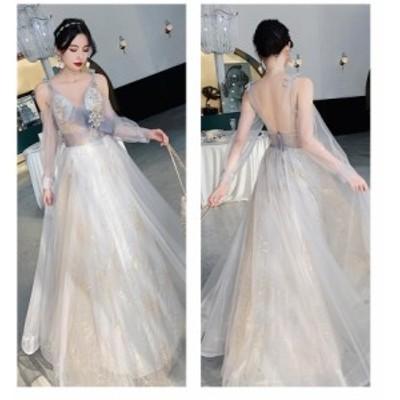 ロングドレス Vネック パーティードレス ウエディングドレス 大きいサイズ Aラインワンピース フォーマル 上品 袖あり マキシ丈 結婚式ド