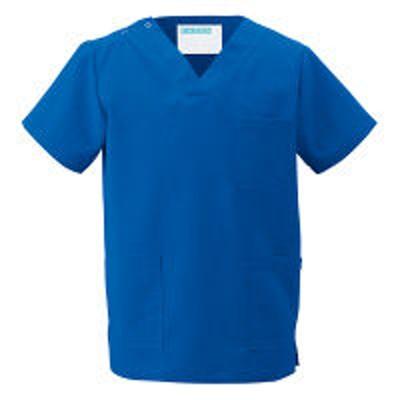 KAZENKAZEN カラースクラブ(男女兼用) 医療白衣 半袖 ロイヤルブルー S 133-85(直送品)