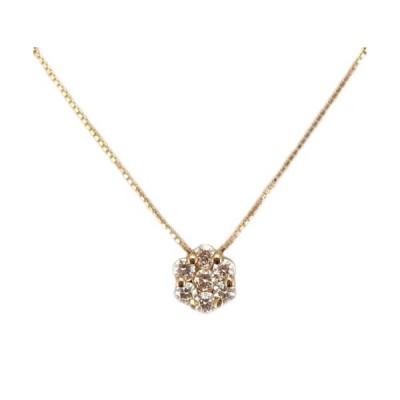 ダイヤモンド お花のペンダント ピンクゴールド製