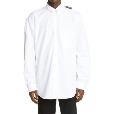 バレンシアガ BALENCIAGA メンズ シャツ トップス Logo Tab Button-Down Shirt White
