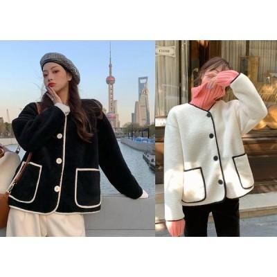 全2色 ファーコート ファー付き 切り替え バイカラー 体型カバー 着痩せ シンプル