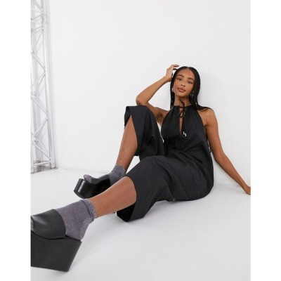 ノイズィーメイ Noisy May レディース オールインワン ジャンプスーツ ワンピース・ドレス poplin jumpsuit with halterneck in black ブラック