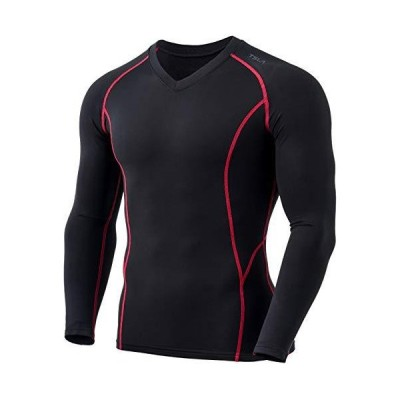 (テスラ)TESLA [保温] 長袖 Vネック コンプレッションシャツ スポーツウェア [吸湿速乾・UVカット] 起毛 コンプレッションウェア ランニ