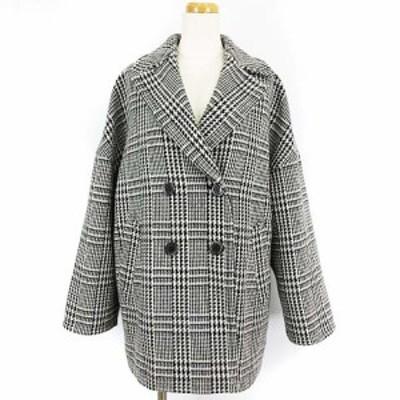 【中古】ブラーミン BRAHMIN 近年モデル オーバーサイズ Pコート ピーコート グレンチェック ウール グレー 38 IBO5