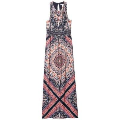 ロンドンタイムス レディース ドレス  Print Matte Jersey Pleat Neck Maxi Dress