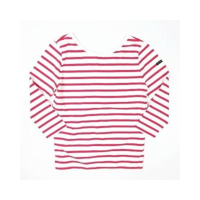 【中古】ルミノア Leminor ボーダー柄 Tシャツ カットソー 七分袖 Vネック トップス サイズ1 ピンク レディース 【ベクトル 古着】