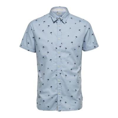 セレクティッド シャツ トップス メンズ Men's Printed Short Sleeve Shirt Skyway Aop