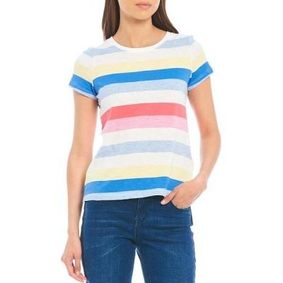 ジュールズ レディース Tシャツ トップス Carley Striped Crew Neck Tee Cream Multi Stripe