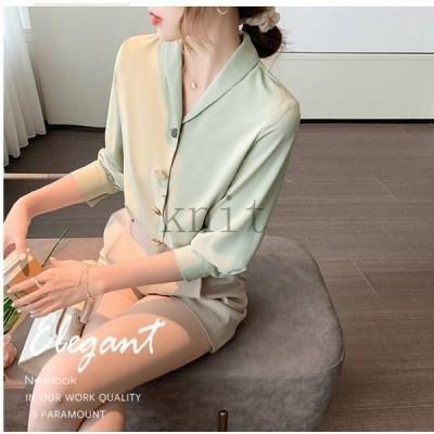 ブラウス長袖レディースシャツブラウストップス3色vネックゆったり大きいサイズはおりオフィス通勤体型カバー秋コーデ羽織ポイント
