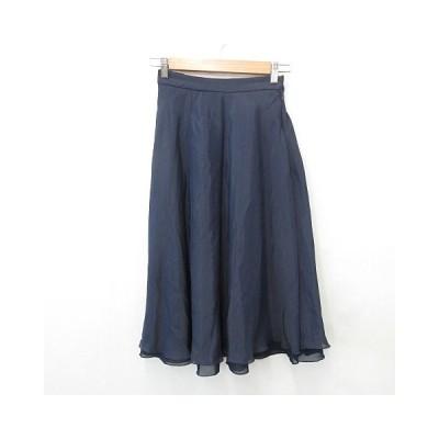 【中古】未使用品 スナイデル snidel スカート フレアースカート ロング 2枚重ね 別布 シフォン 後ろゴム 紺 ネイビー F レディース 【ベクトル 古着】