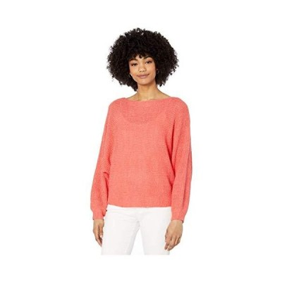 cupcakes and cashmere Women's Sonrisa Rib Knit Dolman Sweater, Hot Coral, S