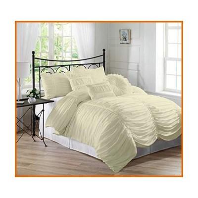 送料無料 Bed Culture Ruched Pattern Duvet Cover Set with Zipper & Corner Ties (1 Duvet Cover & 4 Pillow Shams) 100% Egyptian Cotton 1000