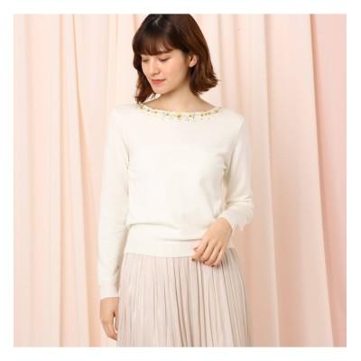 【クチュール ブローチ/Couture brooch】 【WEB限定サイズ(LL)あり】パンジー刺繍プルオーバー