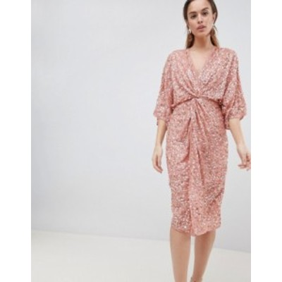 エイソス レディース ワンピース トップス ASOS DESIGN scatter sequin knot front kimono midi dress Dusty pink