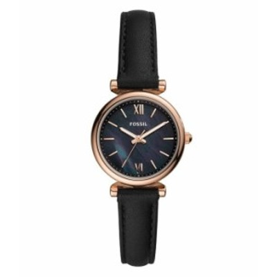 フォッシル レディース 腕時計 アクセサリー Carlie Mini Three-Hand Black Leather Watch Black