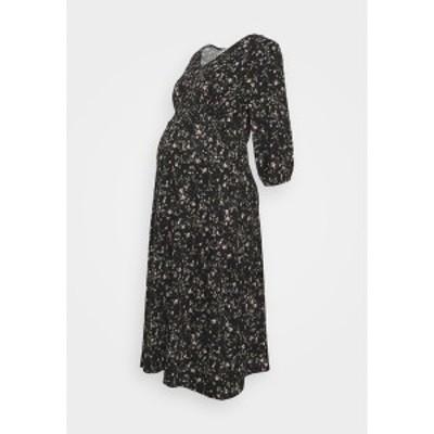 ドロシー パーキンス レディース ワンピース トップス DITSY PRINT SHIRRED WAIST MIDI DRESS - Jersey dress - black black