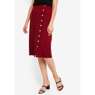 ザローラ ZALORA BASICS レディース ひざ丈スカート スカート Basic Side Metal Poppers Skirt Burgundy
