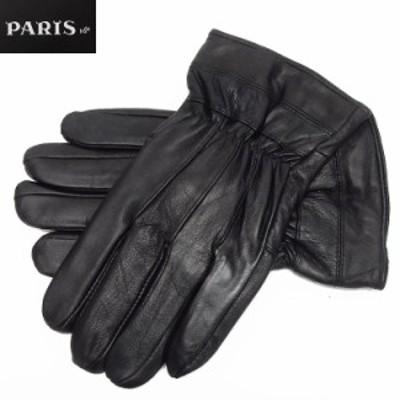 ◆手袋◆PARIS16e 羊革/シープスキン 黒 メンズ グローブ メール便可 LAM-N03-BK