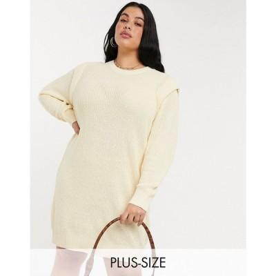 ノイズィーメイ Noisy May Curve レディース ワンピース ワンピース・ドレス knitted jumper dress with sleeve detail in cream クリーム