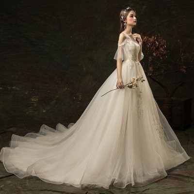 ウェディングドレス ウェディングドレス白 パーティードレス レース パフスリーブ 花嫁ロングドレス 結婚式露背 二次会 エレガント お呼ばれ
