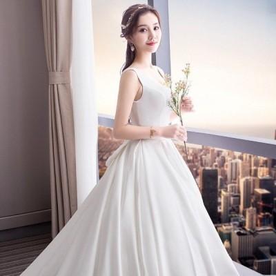 ウェディングドレス ウェディングドレス白 パーティードレス 可愛い蝶結び 花嫁ロングドレス 結婚式 トレーンライン 二次会 エレガント お呼ばれ