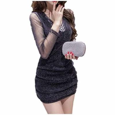 セクシー ミニ ワンピース 長袖 シースルー レディース キャバ ドレス パーティ パーティー(ブラック  XL)
