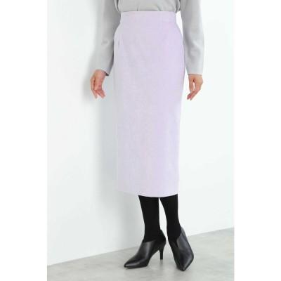 ◆細コールロングタイトスカート ラベンダー