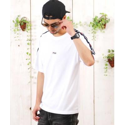 【ジギーズショップ】 FILA(フィラ) ロゴテープTシャツ / Tシャツ メンズ ティーシャツ 半袖 クルーネック ビッグシルエット メンズ ホワイト L JIGGYS SHOP