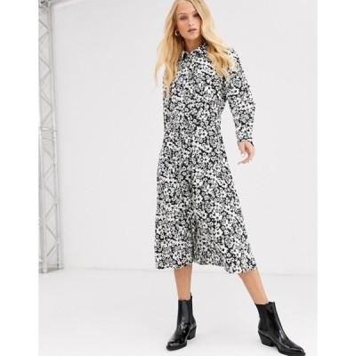 オンリー レディース ワンピース トップス Only monochrome floral shirt midi dress