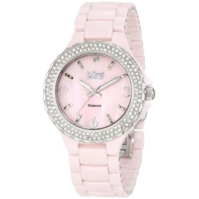 バージ 腕時計 レディースウォッチ Burgi Women's BU47PK Diamond Ceramic Mother-Of-Pearl Watch