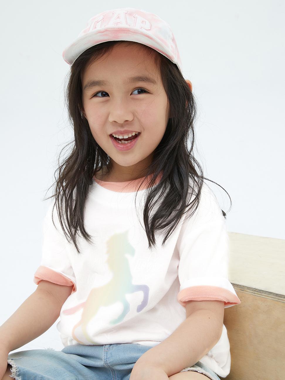 女童 純棉漸層印花短袖T恤