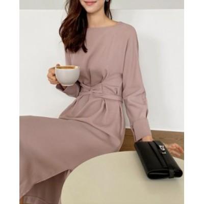 ☆2020年 新作 春夏OK☆ ロング ワンピース 長袖 スカート ドレス ハイウエスト ブラック ピンク リボン 単色 オフィス かわいい