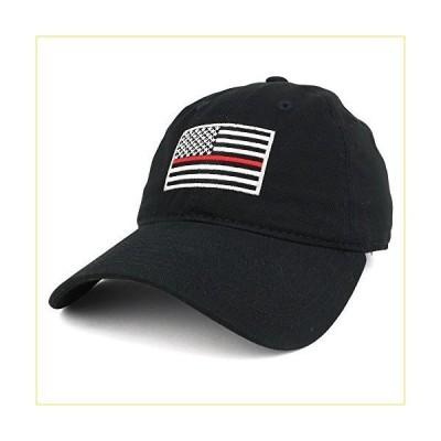 シンレッドライン刺繍USAフラグソフトフィットWashed Cotton Baseballキャップ カラー: ブラック