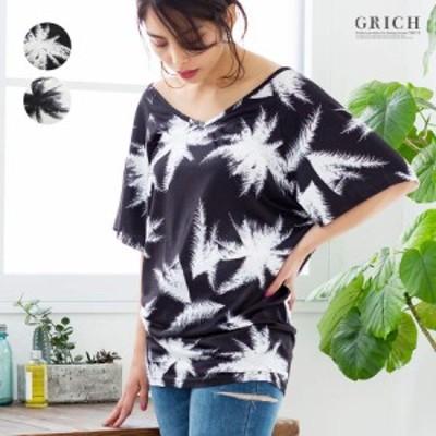 [ゆうパケット対応][140701][トップス]パームツリー オーバーサイズ Tシャツ[チュニック Vネック 半袖 プルオーバー ヤシの木 ボタニカ