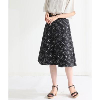 スカート ベルト付フレアスカート