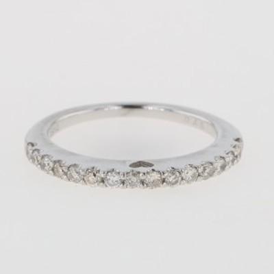 メレダイヤ デザインリング K18 ホワイトゴールド ダイヤモンド 指輪 リング 9号 WG ダイヤモンド レディース 中古