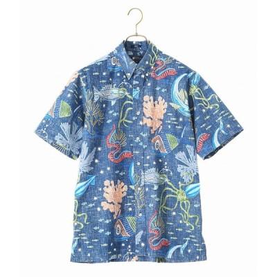 REYN SPOONER / レインスプーナー : Deep Sea Jive : ボタンダウン 半袖 シャツ  柄シャツ アロハシャツ ハワイアンシャツ : 0101-11-001