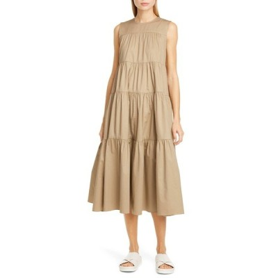 コー ワンピース トップス レディース Tiered Cotton Midi Dress Taupe