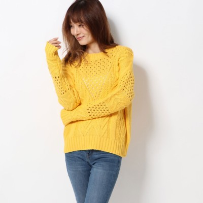 ゲス GUESS NICOLE KNIT ROUND-NECK SWEATER (SPICY YELLOW)