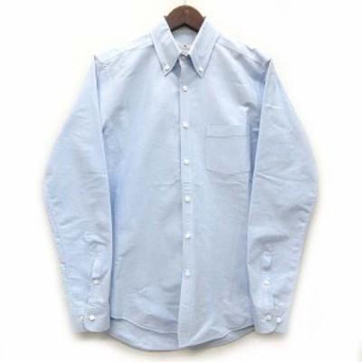 【中古】スーツセレクト SUIT SELECT ボタンダウン シャツ ワイシャツ 長袖 オックスフォード ライトブルー 青 M 美品 メンズ