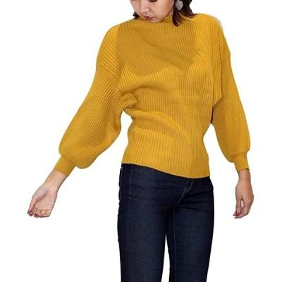 ニブンノイチスタイル セーター バルーン スリーブ トップス ハイネック(からし, Free Size)