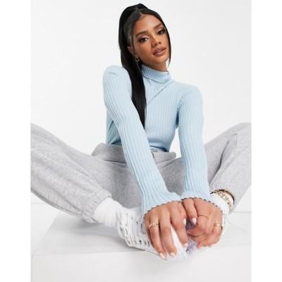 スリードベア レディース ニット・セーター アウター Threadbare Harriet roll neck ribbed sweater in blue