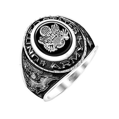 【新品】US Jewels And Gems カスタマイズ可能 メンズ アンティーク 0.925 スターリングシルバー または バーメイル US アーミー ミ